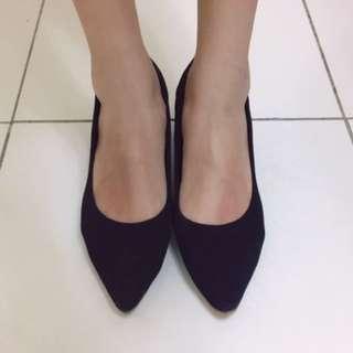 Zalora 紡織粗跟高跟鞋