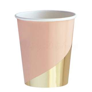 Blush Pink With Gold Stripes Cups (Set of 8)