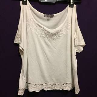 Temt White Cold Shoulder Shirt