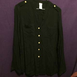 Black Thin Casual Button Up Size 8