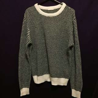 GU Black And White Striped Knitted Jumper