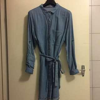 SASS chambray Denim Shirt Dress S10