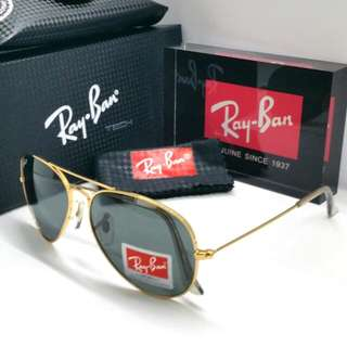 7a37d8762bea Authentic Rayban Aviator Sunglass Gold Rim Plastic Lens + Original Box Case  Cloth Ray Ban