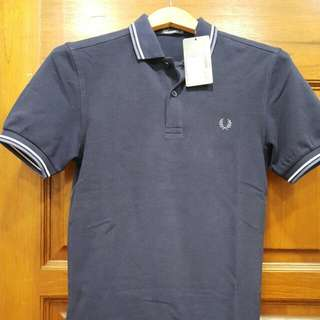 Original FRED PERRY TWIN TIP POLO Shirt Navy Blue - XS