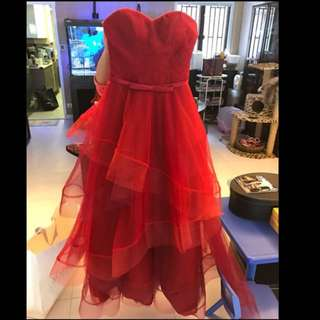 減價📣$800 📣 Miss Bride Serendipity Red Organza Grown 紅色晚裝裙 敬酒