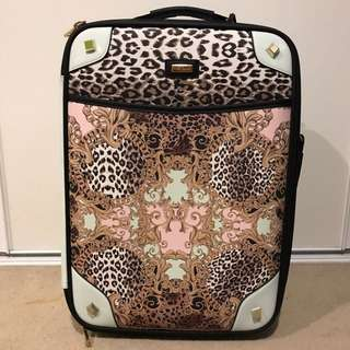 *limited edition* River Island Pink Baroque Leopard Print Wheelie Suitcase