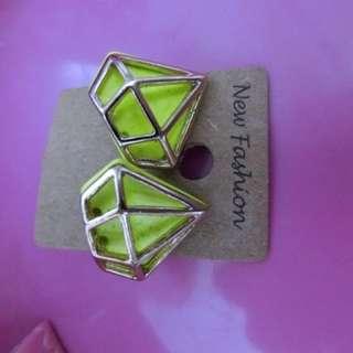 二手 耳環 鑽石 螢光黃色 亮麗款