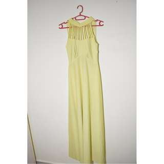 Long Fitted Flowy Pastel Yellow Prom Dress Gown Unique