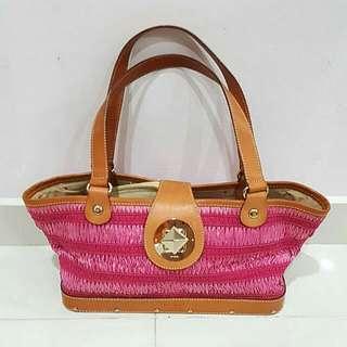 Kate Spade Woven Raffia Pink Bag