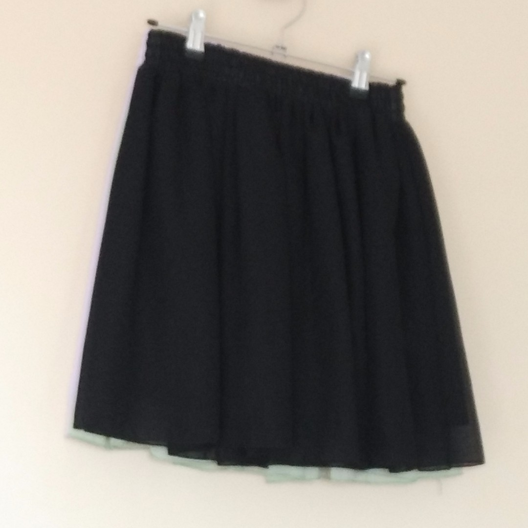 3x skater skirt, black/mint green/lavender purple