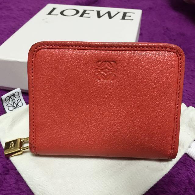 9成新 正品 Loewe 拉鍊短夾 零錢包