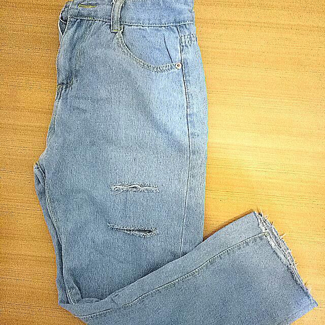 牛仔破褲,男友褲