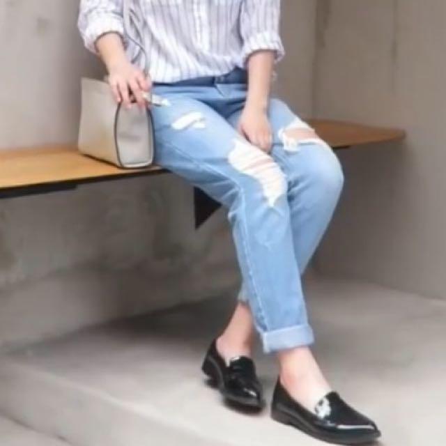 韓系小流蘇漆皮尖頭低跟鞋