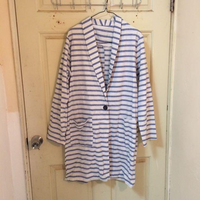 藍白條紋雙口袋長大衣罩衫