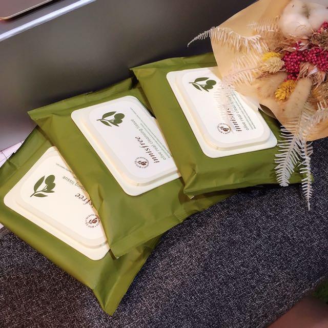 innisfree橄欖真萃保濕卸妝棉 30片/包  兩包合購300