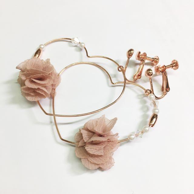 全新玫瑰金耳夾式耳環耳飾 (無耳洞)