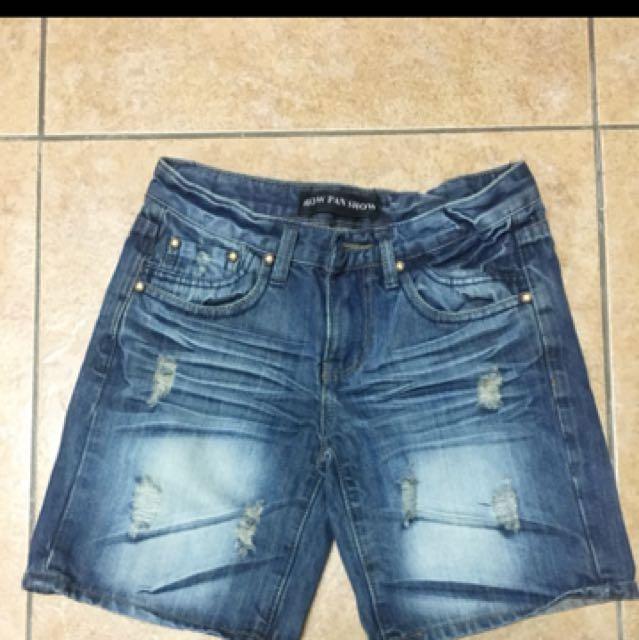 牛仔短褲 破壞 復古 古著 韓風 水洗