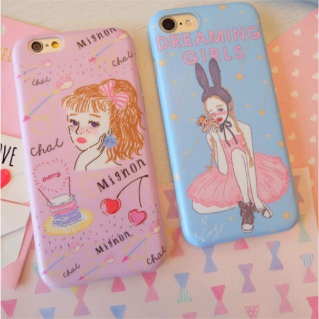 日本 櫻桃粉/夢想藍手繪粉嫩女孩iphone手機殼