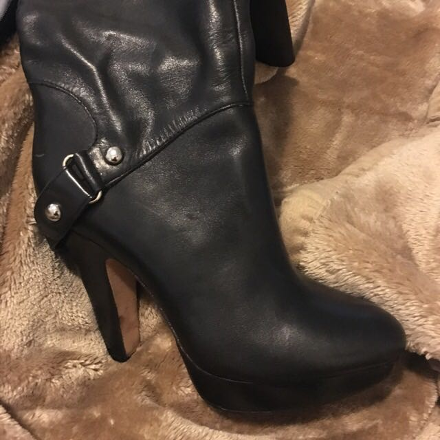 🆕 Leather High Boots With Platform Size 6