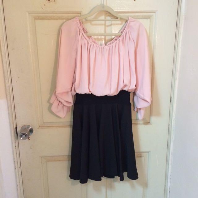 粉色雪紡公主袖A字裙短洋裝
