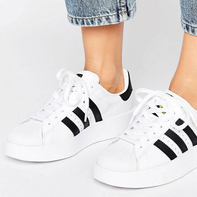 separation shoes 4d540 157ca Adidas Original Bold Double Sole White And Black Superstar Trainers,  Women s Fashion, Shoes on Carousell