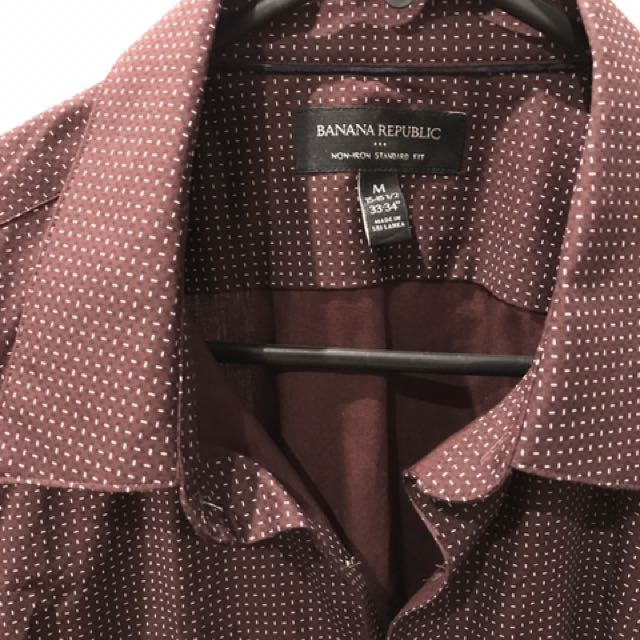 Banana Republic Dress Shirt Size M Maroon