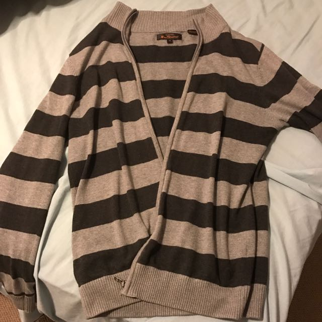 Ben Sherman Grey Striped Cardigan