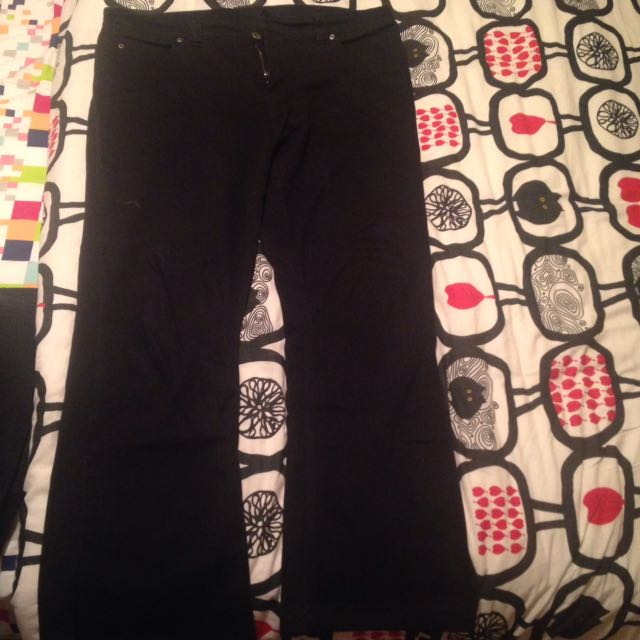 Black Bell Bottom Pants With Slits