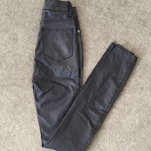 Black Wet Look Jeans