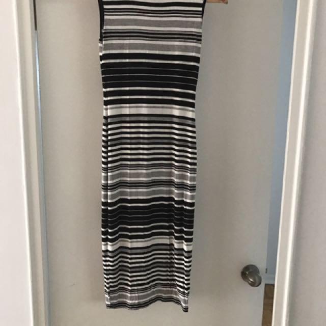 Black&white Striped Cotton Long Dress
