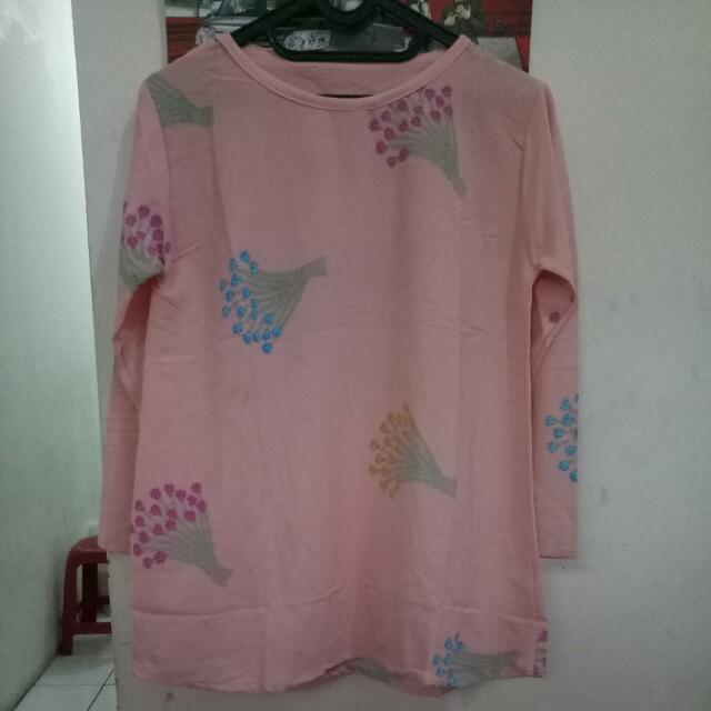 Blouse Pink Motif Bunga2
