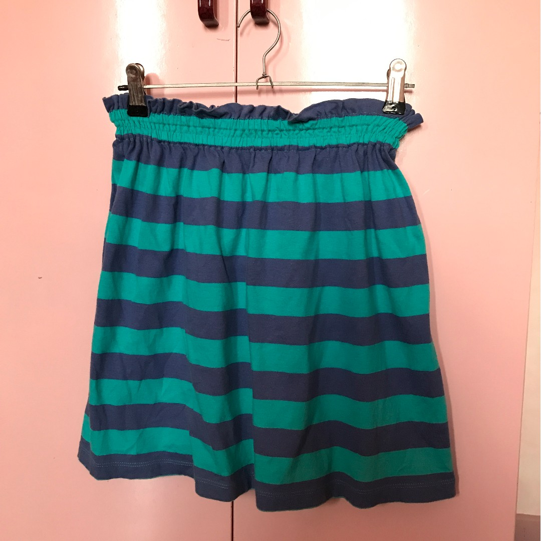 Blue and green striped skirt