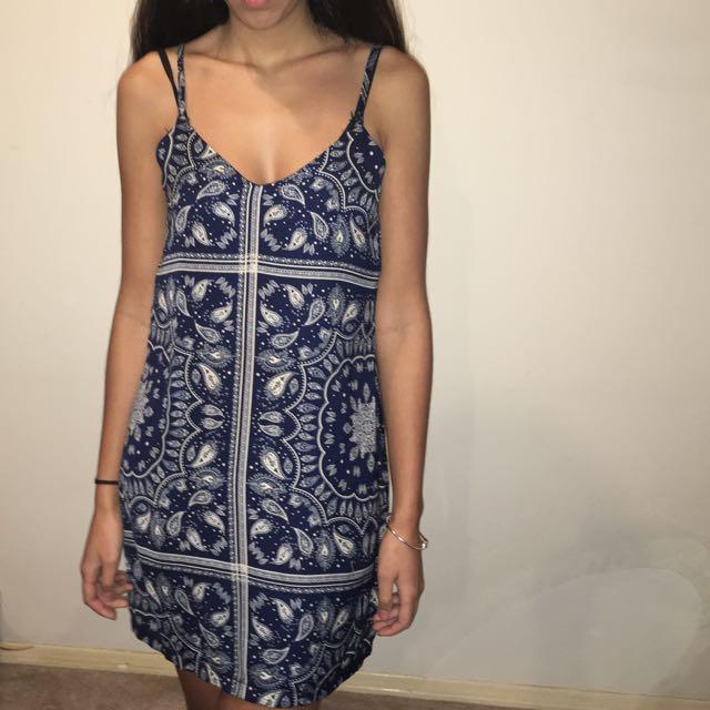 Blue Bandana Pattern Slip Dress