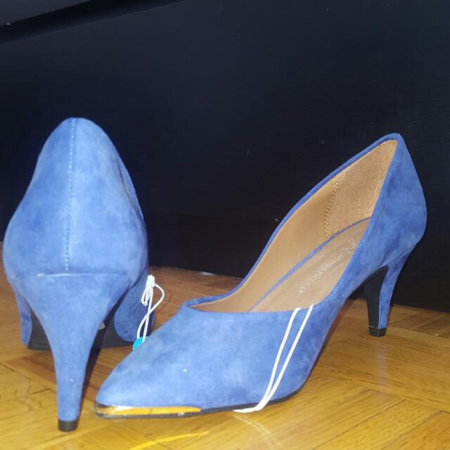 Blue Heels With Gold Detail