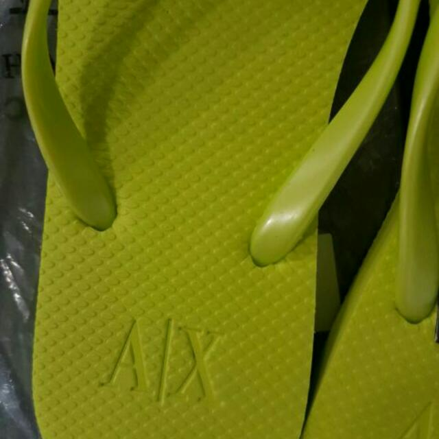 a381e4f61dc0be Bnwt Authentic Armani Exchange Size 7 Logo Plate Flip flops Thong Sandals  Slippers
