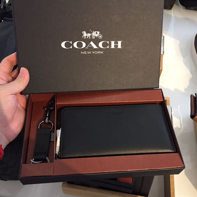 3c9439f37c40f ... gift box f58928 lussocitta 768d3 25259  shopping bnwt authentic coach  mens zip around long wallet key fob in calf leather black with