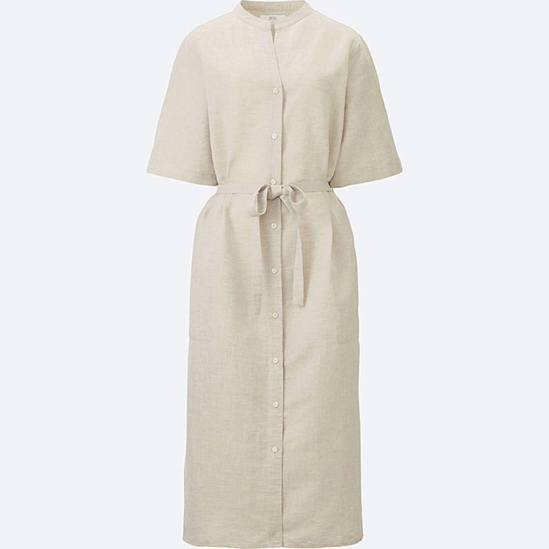 BNWT Uniqlo Linen Dress in Beige (Sz. Small)