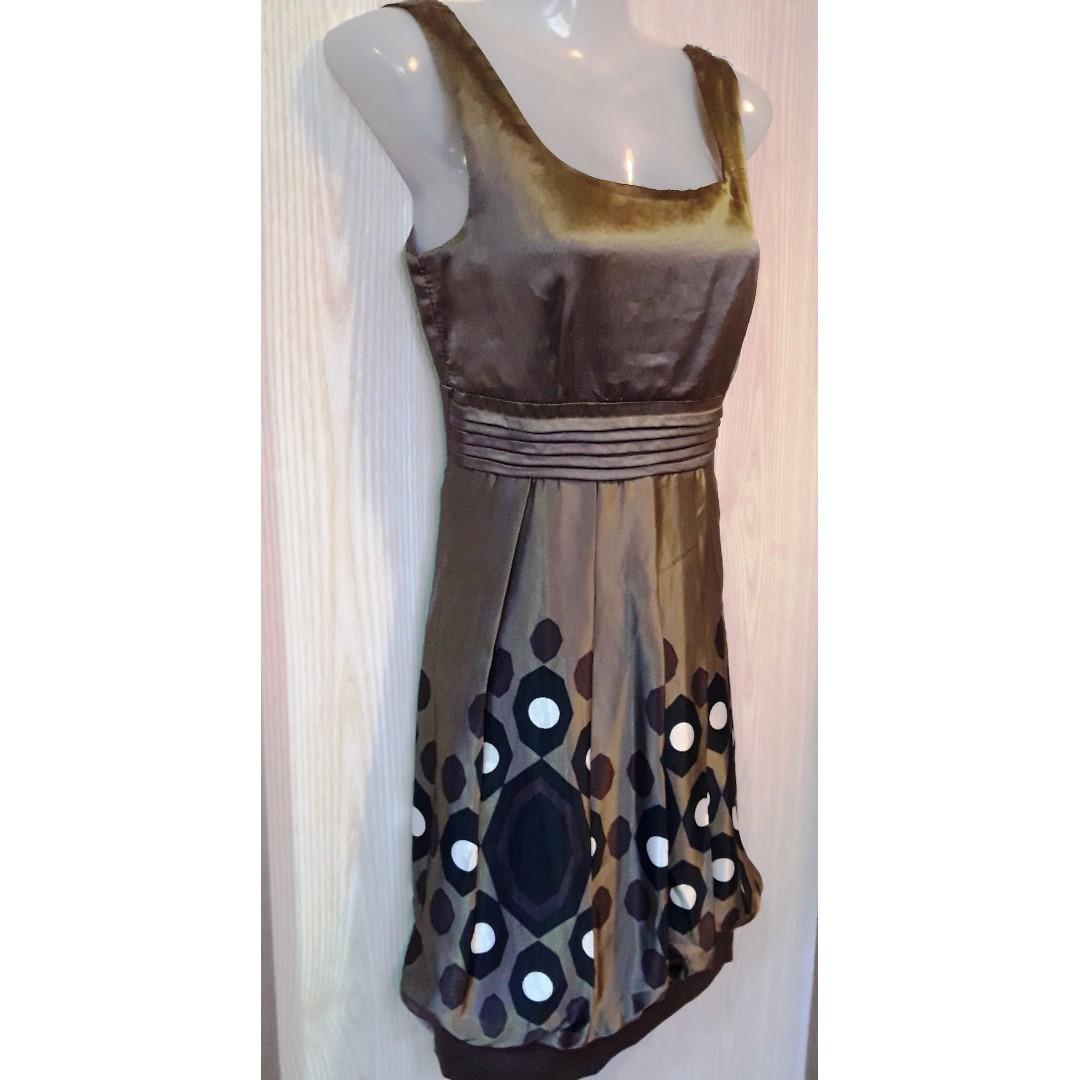 Bronze Bloomer Silk Dress -- Size S-M