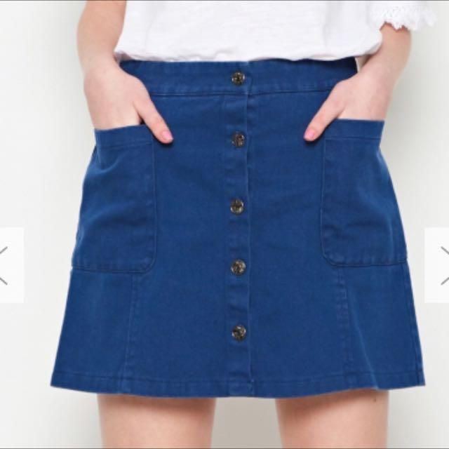 Caco 寶藍色深藍色 藏青色 A字短裙 排釦裙 口袋裙