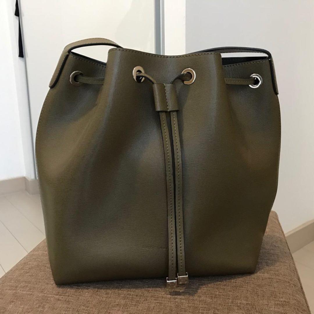 1b9c15527a6cc Coccinelle Leather Bucket Bag (Olive Green)