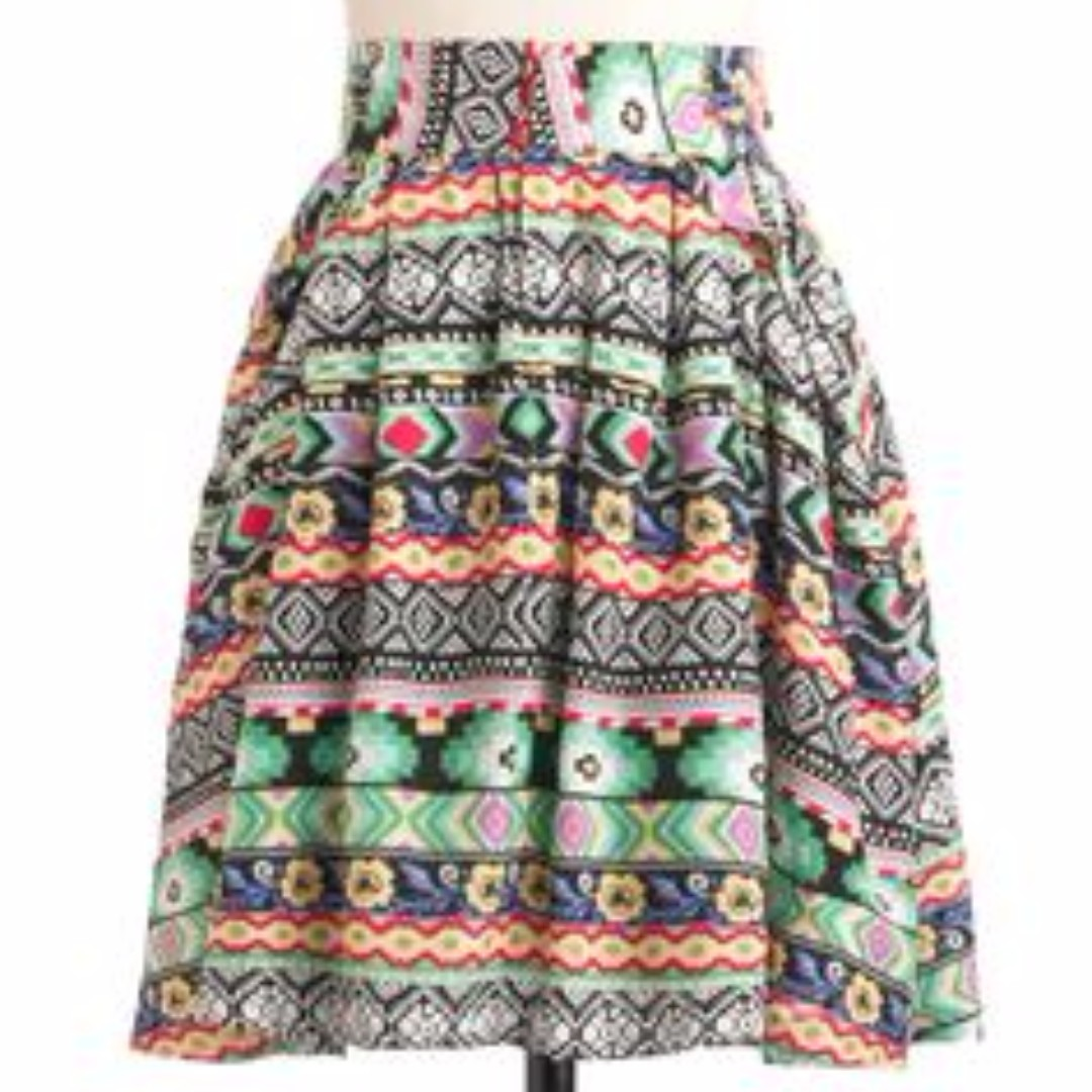 Colourful patterned skater skirt