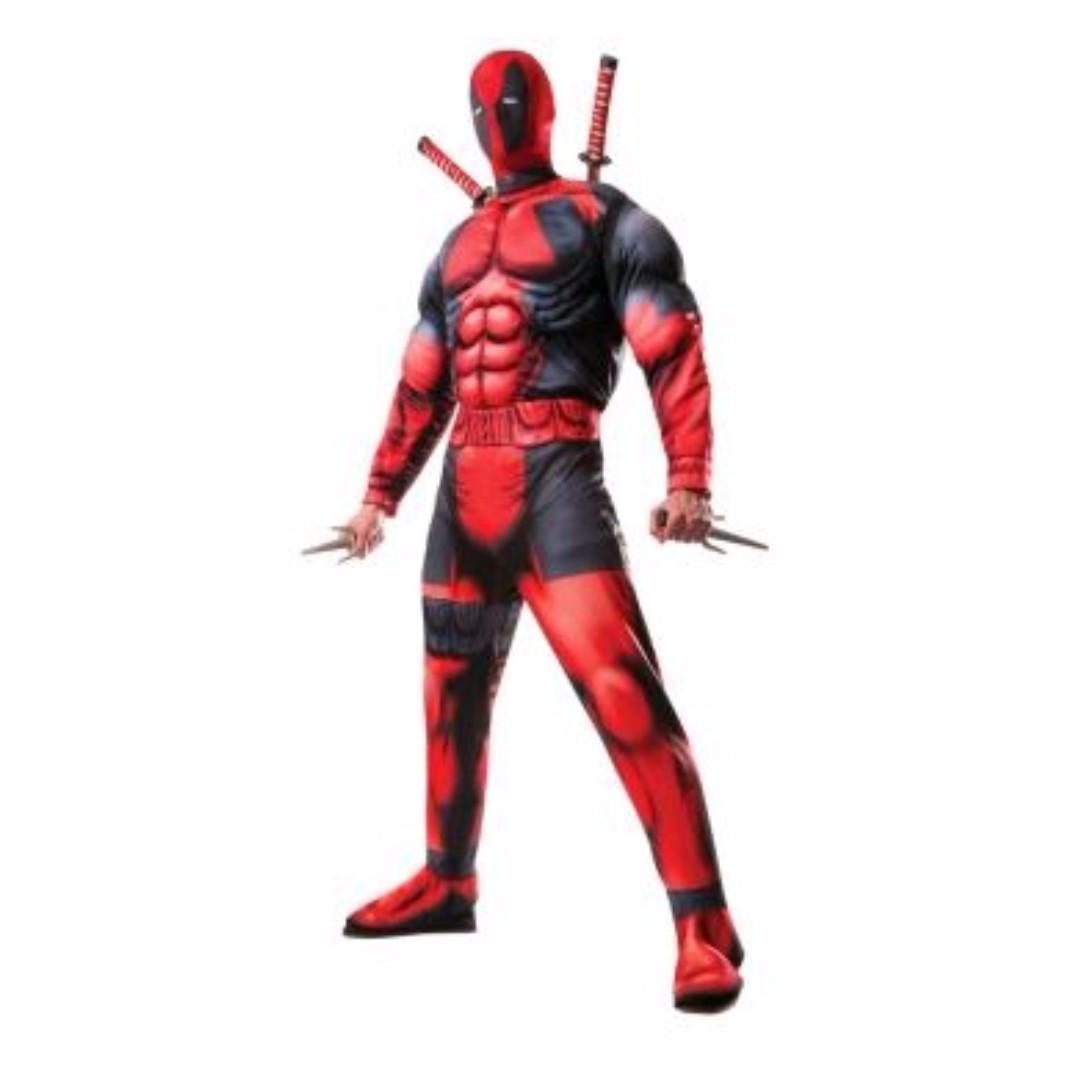 Deadpool Muscle Marvel Comic X Men Superhero Halloween Adult Licensed Costume