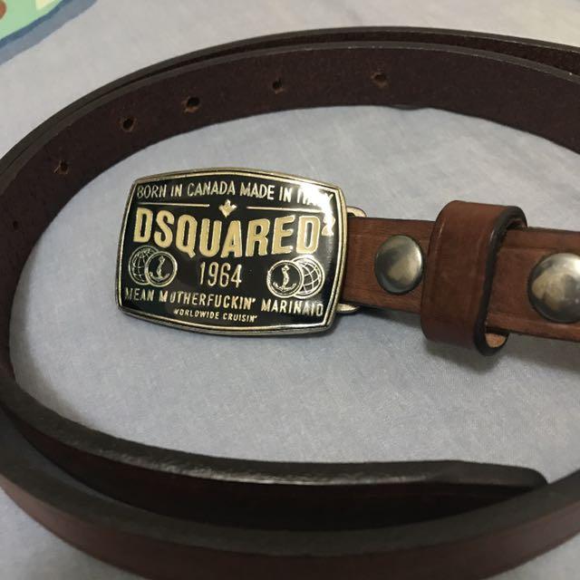 【時尚精品】Dsquared2 D2 經典LOGO 皮帶 (咖啡色 真皮 保證正品可驗貨)