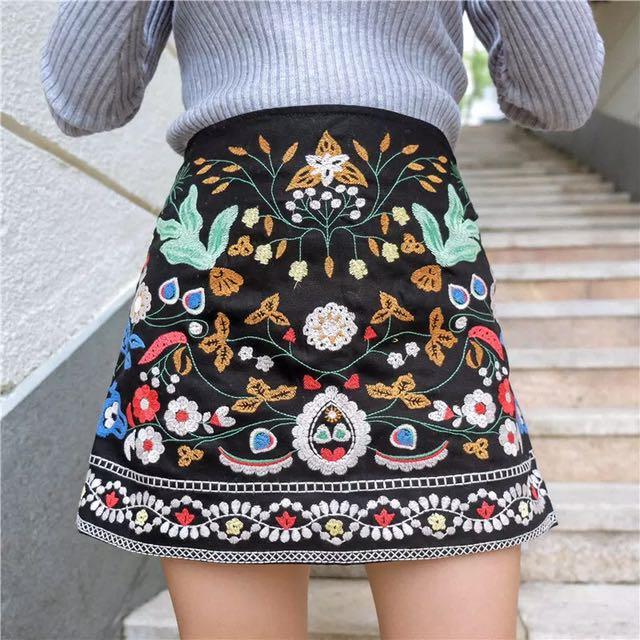 ef9ca21b Floral Embroidery Mini Skirt In Black (Zara Inspired), Women's ...