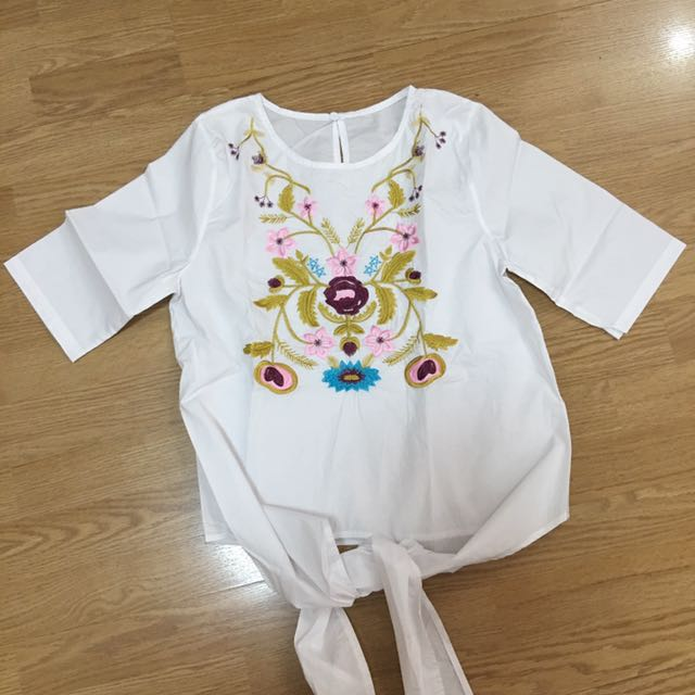 Front Tie Embroidered White Top
