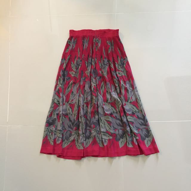 Fuchsia Grey Midi Skirt