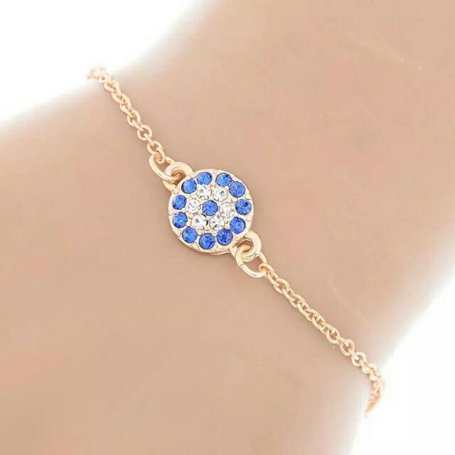 Gold Blue Evil Eye Bracelets