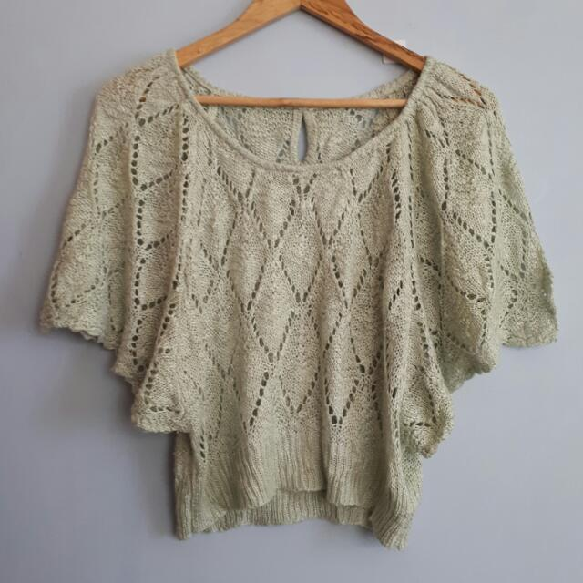 Green Knit Butterfly Sleeves Top