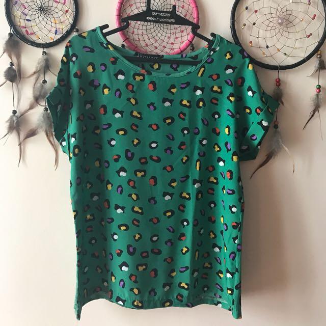 Green Leopard Blouse