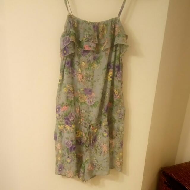 Grey Romper dress Floral Print